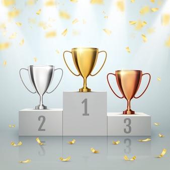 Vincitore. primo luogo di competizione. podio con coppe trofeo
