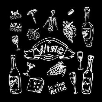 Vino impostato sulla lavagna
