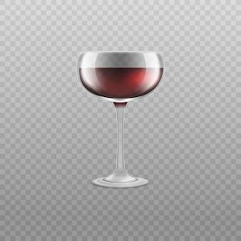 Vino o altra illustrazione realistica di vettore di vetro arrotondata piano della bevanda dell'alcool isolata.