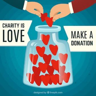 Vintage background di beneficenza con il cuore