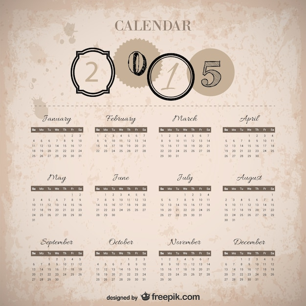Vintage calendario 2015