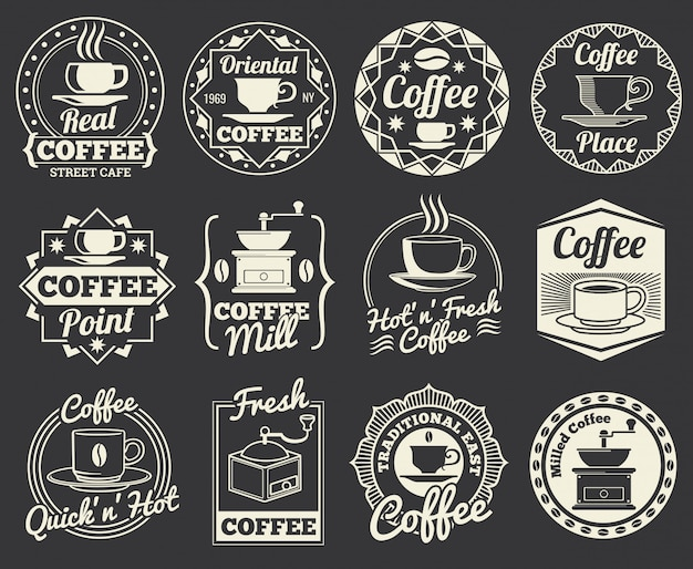 Vintage coffee shop e caffè loghi, scudetti ed etichette.