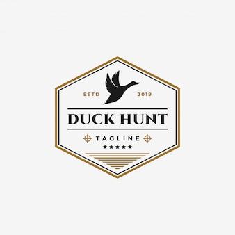 Vintage duck hunting club, flying goose, swan badge logo design template