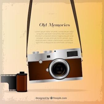 Vintage fotocamera con sfondo bobina