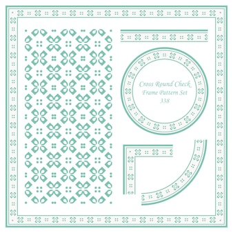 Vintage frame pattern set di croce round check flower