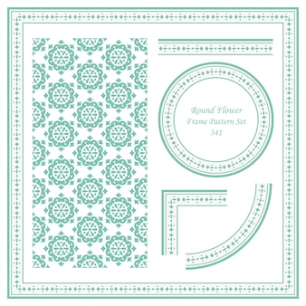 Vintage frame pattern set di round flower cross