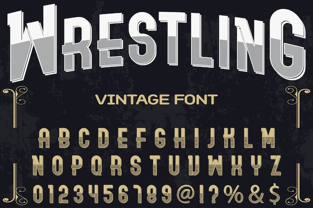 Vintage lettering carattere tipografico etichetta design wrestling