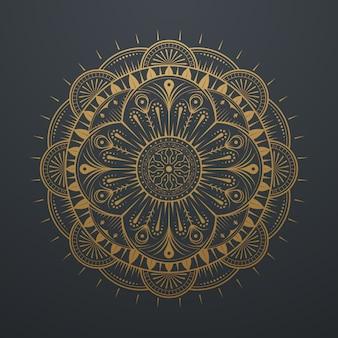 Vintage luxury gold abstract mandala art lace