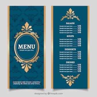 Vintage menu menu dorato con stile barocco