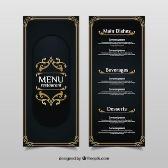 Vintage menu template con ornamenti dorati