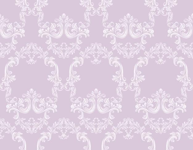Vintage rococò modello di sfondo illustrazioni vettoriali colore rosa