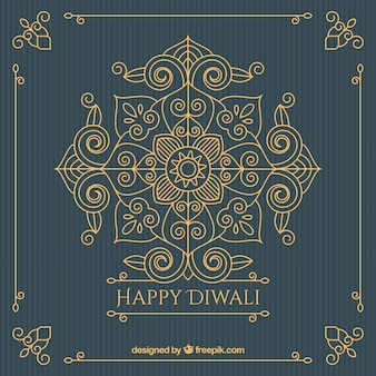 Vintage sfondo ornamentale dorato di diwali