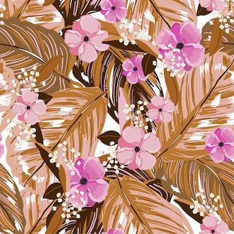 Vintage strato esotico di foglie estive e fiori che sbocciano seamless in disegno vettoriale per moda, web, carta da parati, tessuto e tutte le stampe