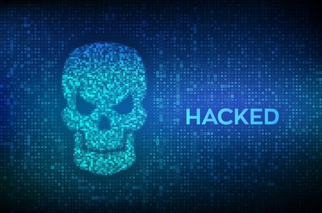 Violato. forma del cranio realizzato con codice binario. di criminalità informatica, pirateria su internet e pirateria informatica.