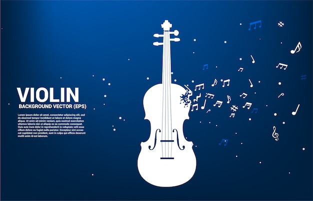 Violino di vettore con flusso di danza nota melodia di musica. modello di testo