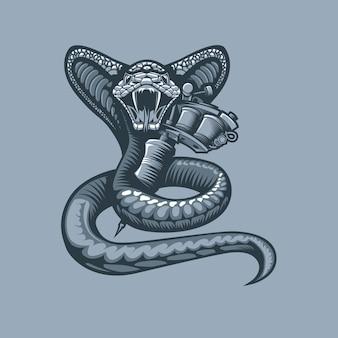 Viper avvolgente macchina del tatuaggio. stile tatuaggio monocromatico.