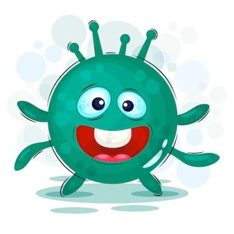 Virus, batteri. mostro divertente, personaggio dei cartoni animati con una corona