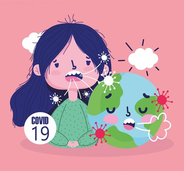 Virus covid 19 pandemia, ragazza e cartone animato malato di mondo
