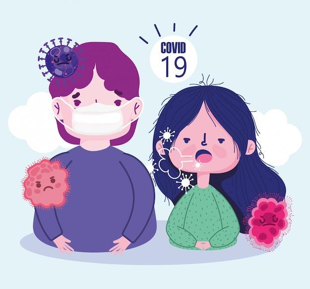 Virus covide 19 pandemia, tosse ragazza cartone animato e ragazzo con maschera
