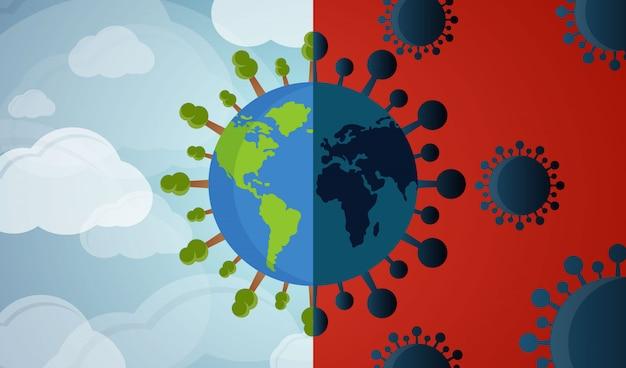 Virus della corona distruggi il concetto del mondo