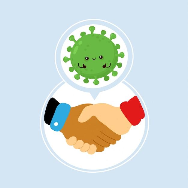 Virus della corona trasmesso tramite stretta di mano. disegno dell'icona dell'illustrazione del personaggio dei cartoni animati