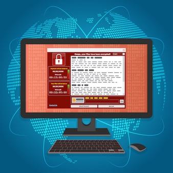 Virus malware il ransomware ha crittografato i tuoi file e richiede denaro
