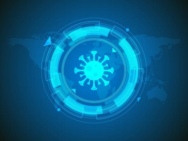 Virus rilevato sullo sfondo della tecnologia della mappa del mondo