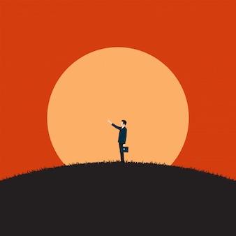 Visionario dell'uomo d'affari che esamina il successo