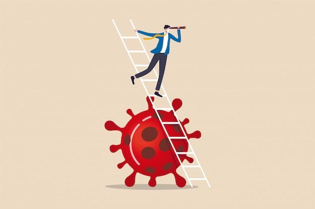 Visione aziendale nuova normalità dopo la pandemia di coronavirus che causa crisi finanziaria e concetto di recessione economica