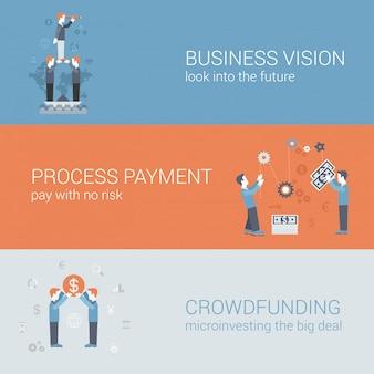 Visione aziendale, pagamento, set di icone di finanziamento folla.