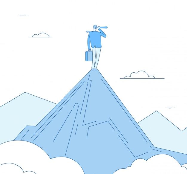 Visione uomo d'affari che sta sul picco di montagna che guarda con il cannocchiale. motivazione successo futuro concetto di business