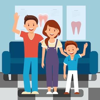 Visita del dentista in famiglia