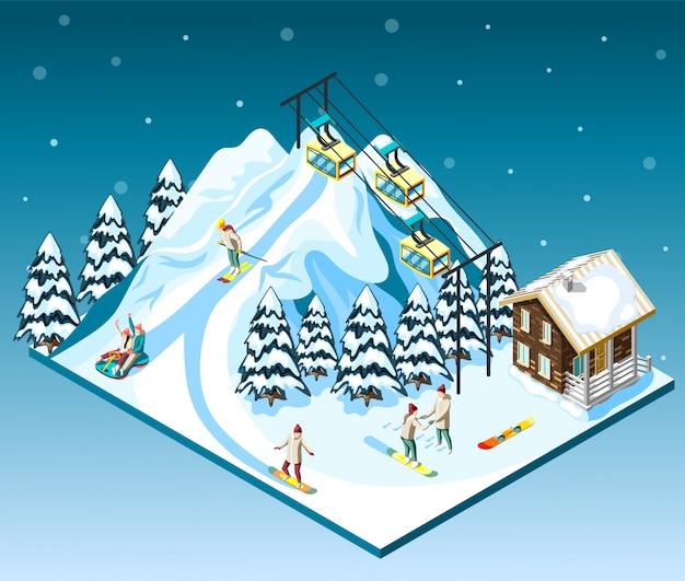 Visitatori di composizione isometrica della stazione sciistica sulla casa del pendio di montagna e funicolare blu con neve