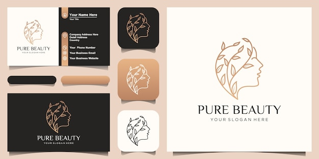 Viso di bella donna creativa con logo di concetto di crescita e design biglietto da visita.