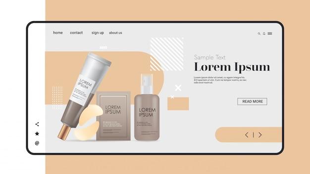 Viso siero patch per gli occhi set di packaging cosmetico prodotti di bellezza del viso cosmetologia naturale cura della pelle concetto di trattamento mobile spazio orizzontale copia app