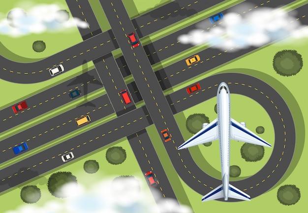 Vista aerea con l'aeroplano che vola nel cielo