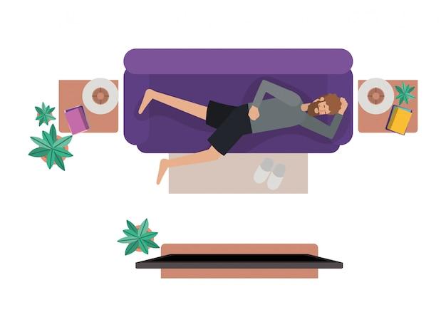 Vista aerea dell'uomo carattere di riposo di avatar