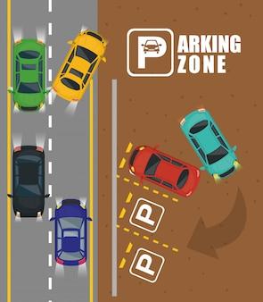 Vista aerea della zona di parcheggio