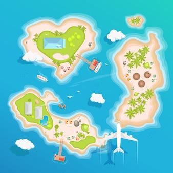 Vista aerea superiore delle isole, turismo di viaggio.