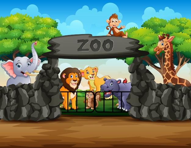 Vista all'aperto dell'entrata dello zoo con differenti animali del fumetto