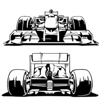 Vista anteriore e posteriore della vettura da corsa.