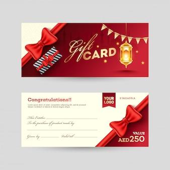 Vista anteriore e posteriore gift card design con scatola regalo e illumi