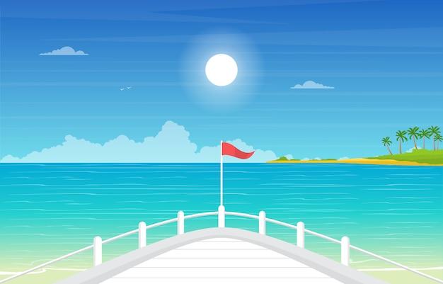 Vista blu del paesaggio dell'oceano del mare sull'illustrazione della piattaforma della nave da crociera