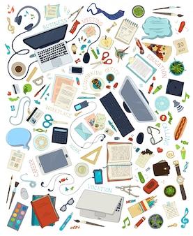 Vista dall'alto dei posti di lavoro. set di gadget e articoli di cancelleria