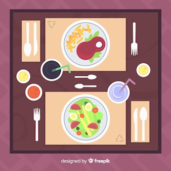 Vista dall'alto del moderno tavolo del ristorante con design piatto