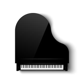 Vista dall'alto del pianoforte a coda