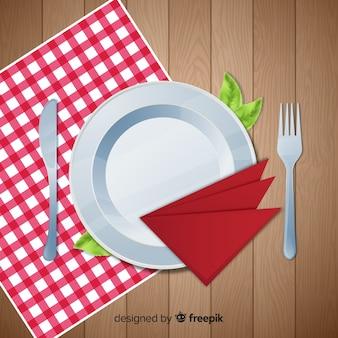 Vista dall'alto del tavolo da ristorante elegante con un design realistico