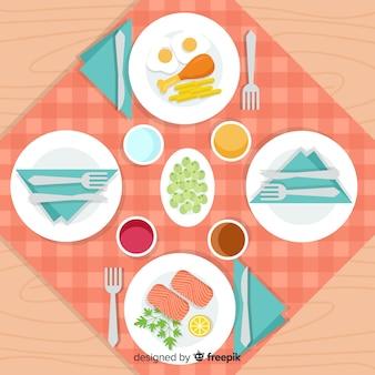 Vista dall'alto del tavolo del ristorante con design piatto