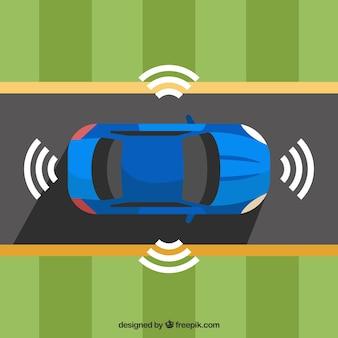 Vista dall'alto della futuristica auto autonoma con design piatto