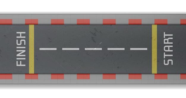 Vista dall'alto della pista con partenza e arrivo. illustrazione realistica di vettore della strada asfaltata vuota per rally automobilistico e corse di velocità